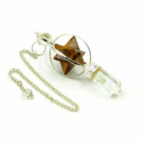 65-75 MM Long Natural Tiger Eye Markaba Star Pointed Dowsing Pendulum Set