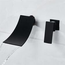Waterfall Spout Bathroom Lavatory Wall Mount Black Basin Tub Mixer Faucet Taps