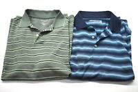 Lot of 2 Roundtree & Yorke Men's L Short Sleeve Polo Shirts Polyester Green Blue