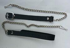 "Black Cowhide Leather & Metal Chain Set for Kilt Sporran, Size: upto 48"""