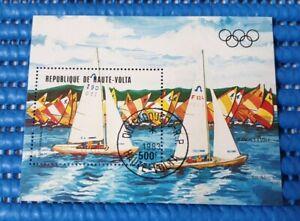 1983 Haute-Volta Olympic Games Sailing Commemorative Stamp Miniature Sheet CTO