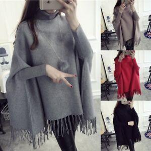 Women Turtleneck Loose Bat Wing Sleeve Tassel Knit Cardigans Poncho Cape Sweater
