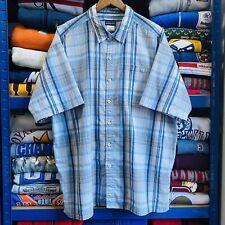 Vintage Patagonia Short Sleeve SeerSucker Blue Check Shirt XL