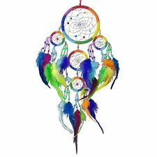 Rainbow Chakras Beaded Dreamcatcher with Feathers Native American Inspired