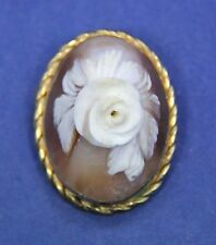 VTG Signed Carved Shell High Relief Flower Cameo Pendant Brooch. Gold-filled