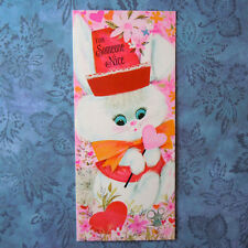 Vintage UNUSED Valentine Greeting Card White Rabbit with Pink Hat and Coat