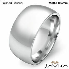 10.5mm Men Wedding Band Solid Dome Comfort Fit Ring 18k Gold White 18.4g 11-11.7