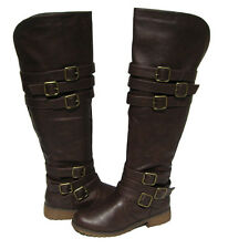 New Women's Riding Boots Brown Over the Knee Shoes Winter Snow Ladies size 6