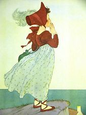 Marjorie Torrey VICTORIAN GIRL in FEATHER HAT on A CLIFF 1945 CHILD Print Matted