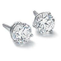 4.00 Ct. Round Brilliant Cut Diamond Stud Earrings Martini Style Platinum H, SI1