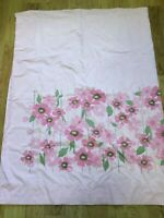 Vintage Sears Perma Prest Field Flower Pink Twin Flat Sheet No Iron 1970s