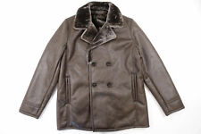 TASSO ELBA BROWN FAUX LEATHER MEDIUM PEA COAT PEACOAT JACKET MENS NWT NEW