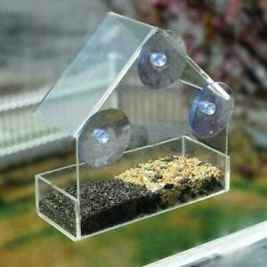 Clear Glass Window Birds Hanging Bird Feeder House New Table Peanut Suction G3Q9