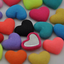 10/50/100 pcs Heart chiff fabric covered button with flat back as jewelry CT02