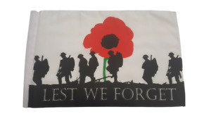 "Lest We Forget 18"" X 12"" Polyester Treehouse Courtesy Caravan Sleeved Flag"