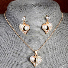 Heart Noble Pearl Crystal 18k Gold Plated Stud Earrings Necklace Jewelry Set