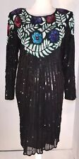 Vintage Sweelo Black Sequin Dress Women's Size 10-12 Cocktail Long Sleeves Shrot