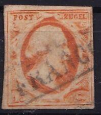 1852 Koning Willem III 15 cent oranje ongetand NVPH 3 gestempeld