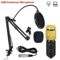 USB Studio Condenser Microphone Kit Stand Shock Mount for Broadcast Sound Record