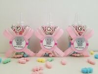 Baby Shower 12 Elephant Favor Bottles Prizes Game Girl Pink Decoration Recuerdos