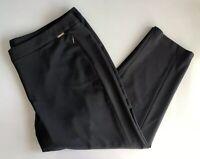 Ellen Tracy Womens Plus Size 22W Dress Pants Ankle Flat Front Zip Pockets Gray
