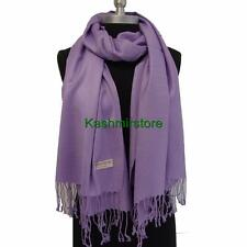 NEW Women Soft PASHMINA Cashmere SILK Classic Solid Shawl Scarf Lavender#W01