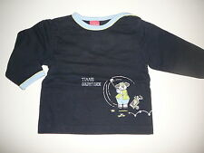 Sanetta tolles Sweatshirt Gr. 68 dunkelblau mit Hundedruckmotiv !!