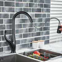 Kitchen Sink Pull Down Spray Faucet Single Handle Swivel Spout Mixer Tap Black