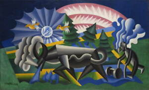Fortunato Depero Ploughing Giclee Canvas Print Paintings Poster LARGE SIZE