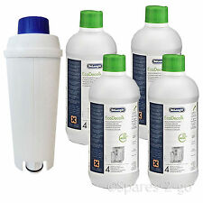 Delonghi Descaler 500ml x 4 +  ECAM Water Filter Kit fits Coffee Maker Machines