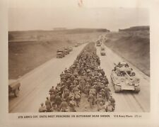 Original WWII Photo 6th ARMORED DIVISION TANKS POW PRISONERS Giesen Autobahn 172