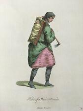 1772 Wyandot NATIVE AMERICAN Hand Colored Print by Thomas Jefferys Huron Weindot