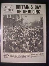 VINTAGE NEWSPAPER HEADLINE~WORLD WAR 2 CHURCHILL VICTORY NAZI SURRENDER WWII END