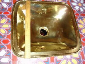 BRASS gold colour Moroccan hand hammered rectangle sink wash basin
