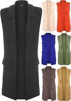 New Womens Sleeveless Crepe Open Long Waistcoat Pocket Top Ladies Jacket 8-14
