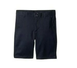 New Nautica Boy Flat Front Twill Stretch Shorts Navy Uniform Size 12 Husky NWT