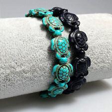 Turquoise Color Stone Beads Charm Honu New Hawaiian Sea Turtles Stretch Bracelet