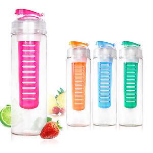 800ML  Fruit Fuzer Infusing Infuser Water Bottle Sports Juice Maker uk .Assorted