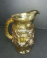 "Vintage~Anchor Hocking~Amber Glass~Rainflower~Daisy~10"" Pitcher"