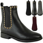 Womens Ladies Gold Stud Flat Chelsea Ankle Boots Low Heel Pull On Punk Size