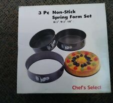 Chef's Select Spring Form Pan 3-Piece Set Kitchen Non-Stick NIB