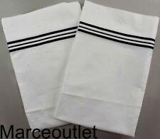 Frette Triplo Popeline Standard Pillowcases White / Black Embroidery