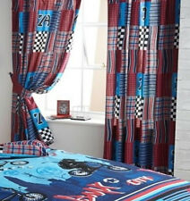 Boys Chequered Flag, Red, Blue, Patchwork Curtains 54s