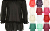 Plus Size Womens Chiffon Gypsy Boho Sheer 3/4 Sleeve Off Shoulder Ladies Top