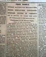 BATTLE OF MOBILE BAY Begin & Sheridan's Valley Campaign 1864 Civil War Newspaper
