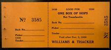 1930's Prohibition Hop Voucher Williams & Thacker Independence Oregon Craft Beer