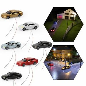 EC200 4pcs Z N scale 1:220 Head Lighted Model Car Model Trains Layout 12V