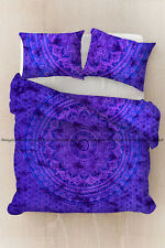 Indian purple ombre bohemian mandala duvet cover quilt cover cotton bedding set