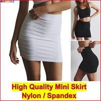 Mini Skirt Short Pencil Tight Stretchable Vertically Pintuck High Waist size6-12