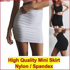 Mini Skirt Short Pencil Tight Stretchable Vertically Pintuck High Waist size6-12